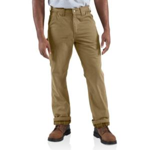Carhartt Men's Washed-Twill Dungaree/Flannel Lined Pants-IRR