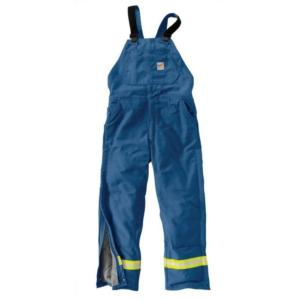 Carhartt Men's Flame Resistant Duck Bib Overall with Reflective Striping-Quilt Lined