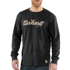 Carhartt Men's Textured Knit Script Graphic Crewneck-Irregular