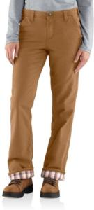 Carhartt Women's Relaxed-Fit Canvas Flannel-Lined Fulton Pant-Irregular