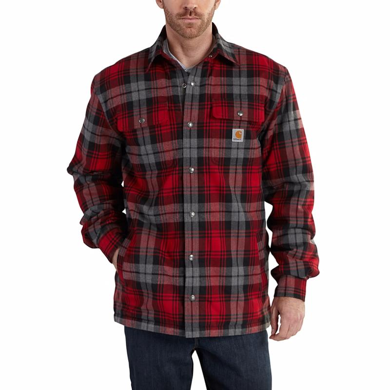 Carhartt mens hubbard flannel sherpa lined plaid shirt 101752 for Mens insulated flannel shirts