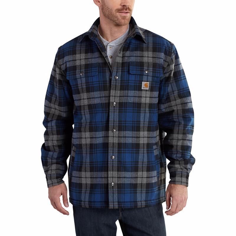 carhartt mens hubbard flannel sherpa lined plaid shirt 101752