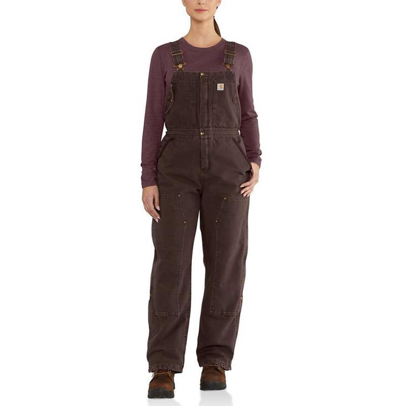 c559be61445 Carhartt Women's Weathered Duck WIldwood Bib Overalls-Irregular. Zoom.  Black Black. Dark Brown (201) ...