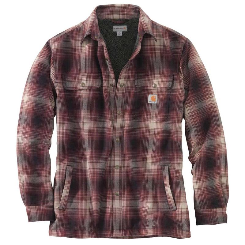 Carhartt Men S Hubbard Plaid Flannel Sherpa Lined Shirt