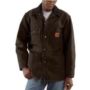 Carhartt Men's Sandstone Duck Blanket Lined Chore Coat