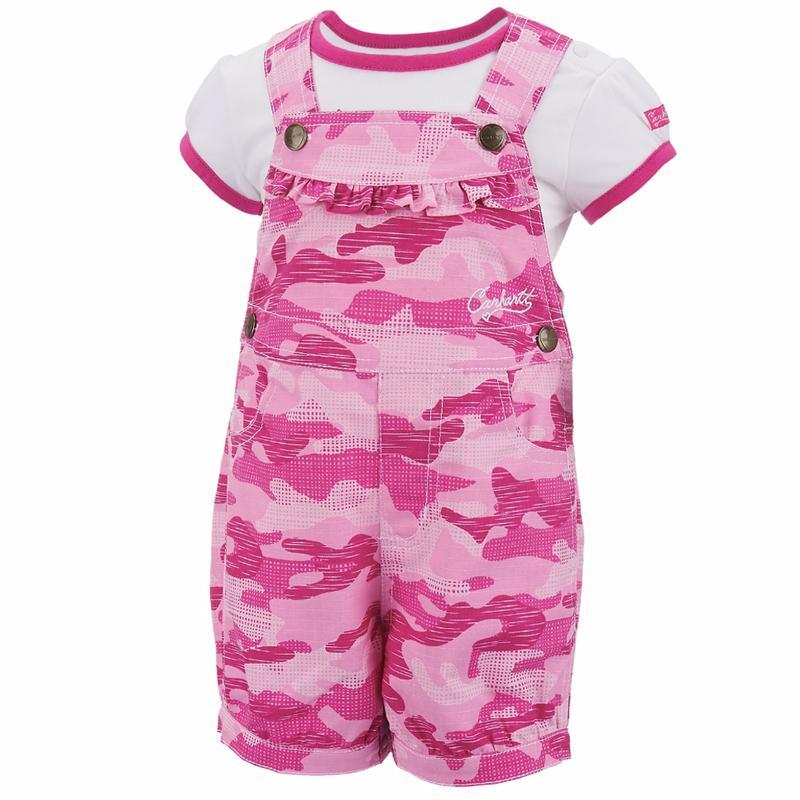 Carhartt Infant Pink Camo Shortall Set