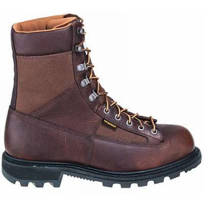 Carhartt Men's 8 in. Low Heel Waterproof Steel Toe Logger Boots. Camel Brown.  Zoom