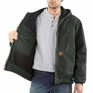 Carhartt Sandstone Duck Quilted Flannel Active Jac/Jackets - Moss Closeout