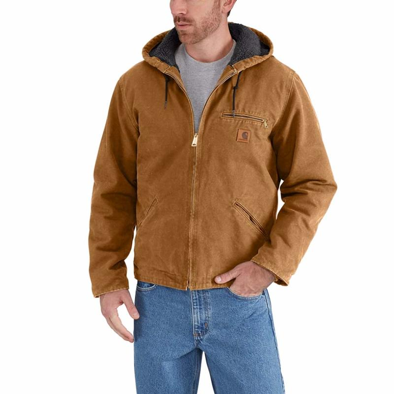 Carhartt Mens Big /& Tall Sherpa Lined Sandstone Sierra Jacket J141