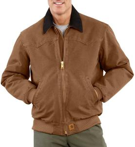 Carhartt Men's Sandstone Duck Quilted Flannel Lined Santa Fe Jackets