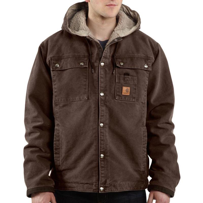 Carhartt Men's Sandstone Hooded Multi-Pocket Jacket-Sherp...