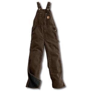 Carhartt Men's Sandstone Duck Quilt Lined Bib Overalls