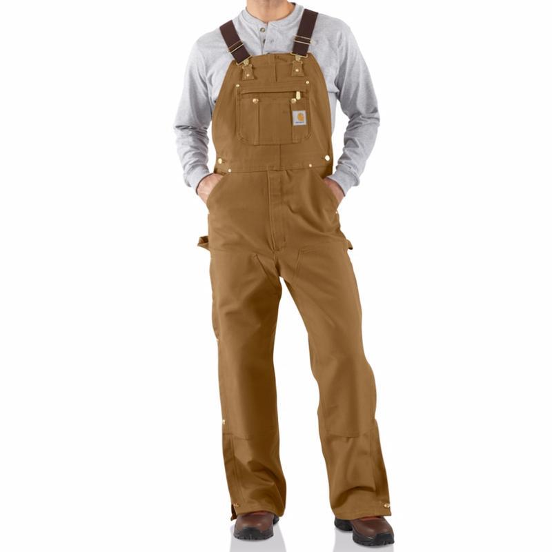 Carhartt Men's Duck Zip-to-Thigh Bib Overalls (unlined)