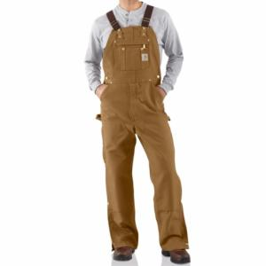 Carhartt Men's Duck Zip-to-Thigh Bib Overalls (unlined)