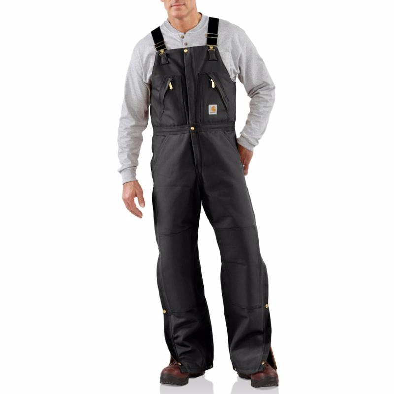 Carhartt Men's Duck Zip to Waist Biberall - Quilt Lined-Irregular