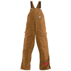 Carhartt Duck Zip to Thigh  Quilt Lined Bib Overall - Irregular