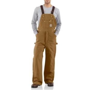 Carhartt Men's Duck Zip to Thigh Bib Overall - Quilt Lined