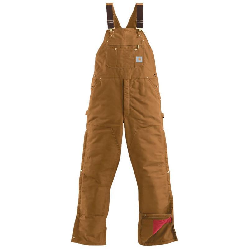 Carhartt Duck Zip to Thigh  Quilt Lined Bib Overall - Irr...