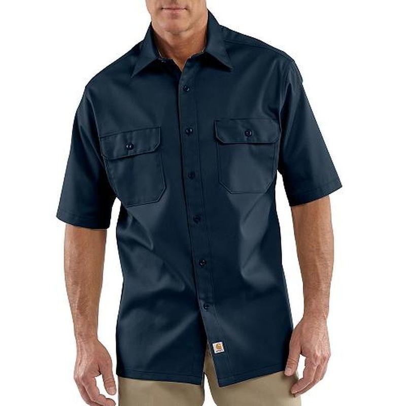 Carhartt Men's Short-Sleeve Twill Work Shirt Black S - Regular