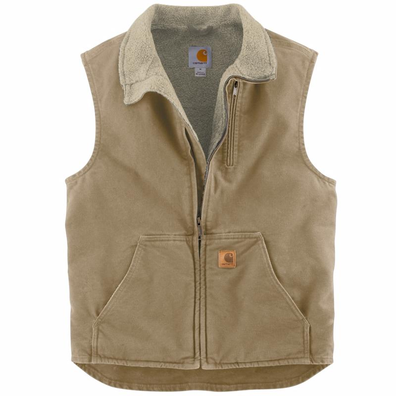 Carhartt Men S Sandstone Vest With Mock Neck And Sherpa