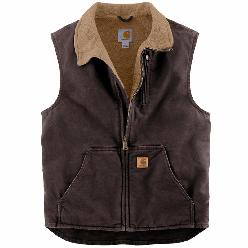 8B2N Carhartt Mock-Neck Vest Mens Brown Cut Price For Sale