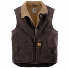 Carhartt Men's Sandstone Vest with Mock Neck and Sherpa Lining V33