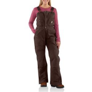 Carhartt Women's Sandstone Bib Overall-Quilt Lined
