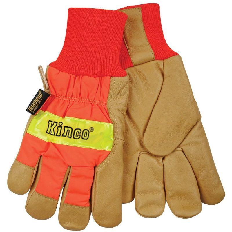 Kinco Hi-Vis Insulated Lined Pigskin Knit Wrist Glove