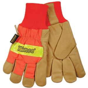 Kinco Hi-Vis Insulated Lined Pigskin Knit Wrist  Glove