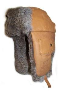Mad Bomber Saddle Tan Leather with Rabbit Fur Hats