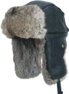 Mad Bomber Black Leather Hats with Brown Rabbit Fur