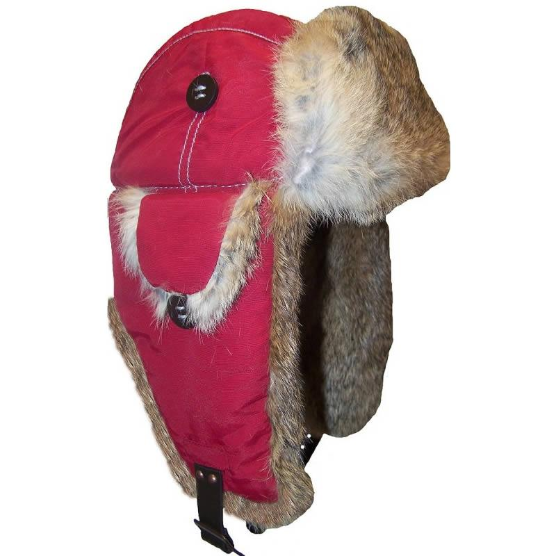 Mad Bomber Red Supplex Bomber with Natural Rabbit Fur