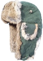 Mad Bomber Green Wax Cotton Bomber Hat with Brown Rabbit Fur 305X47