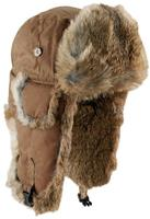 Mad Bomber Khaki Wax Cotton Bomber Hat with Brown Rabbit Fur 305XKHK