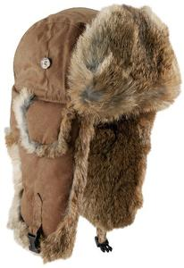 Mad Bomber Khaki Wax Cotton Bomber Hat with Brown Rabbit Fur