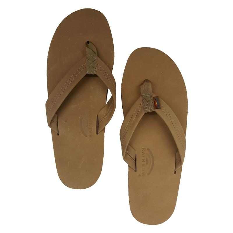 arch single men The single layer premier leather sandal is made of top grade nubuck leather top sole that is embossed with the rainbow logo the strap, also nubuck leather is double stitched, and the nylon toe piece is secured with a box x stitch, all using bonded nylon.
