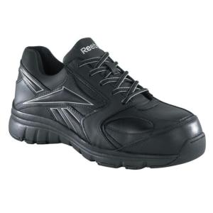 Reebok Womens Black Leather Composite Toe Athletic Oxfords