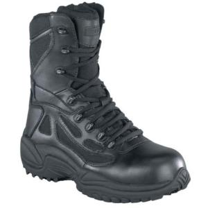Reebok Mens Rapid Response 8 in. Stealth Side Zip Composite Toe Boot
