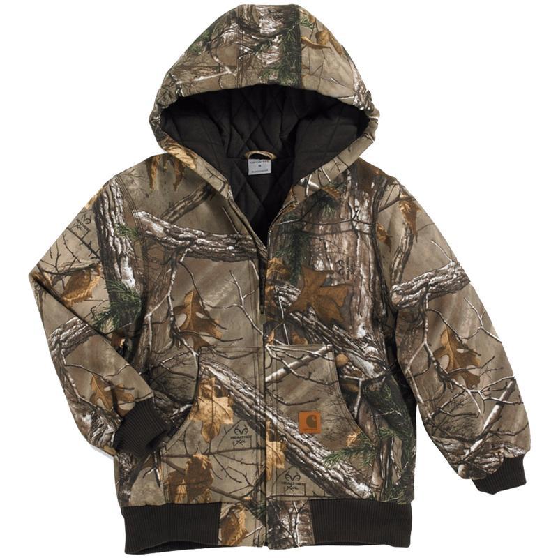 carhartt big kids work camo quilt flannel lined jacket cp8468bk. Black Bedroom Furniture Sets. Home Design Ideas