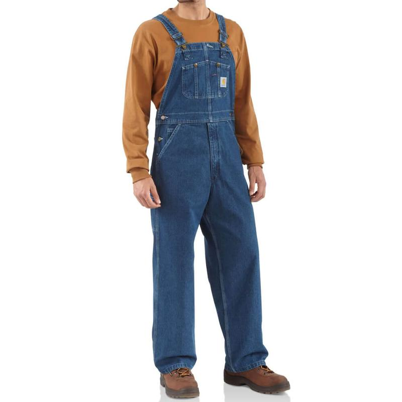 carhartt men 39 s washed denim bib overalls irregular r07irr. Black Bedroom Furniture Sets. Home Design Ideas