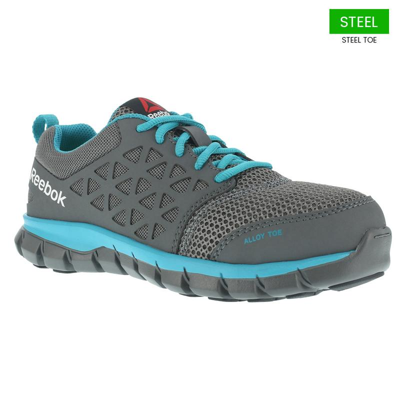 Reebok Women S Sublite Gray Turquoise Cushioned Alloy Toe